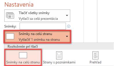 Na table Tlačiť kliknite na položku Snímky na celú stranu a potom v zozname Rozloženie pri tlači vyberte možnosť Snímky na celú stranu.