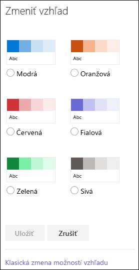 Snímka obrazovky s možnosťami farieb pre SharePoint určenými na zmenu vzhľadu lokality.
