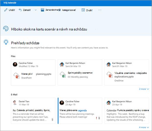 Snímka obrazovky s prehľadmi o schôdzi