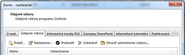Na karte Údajové súbory sa zobrazujú všetky vaše kontá.