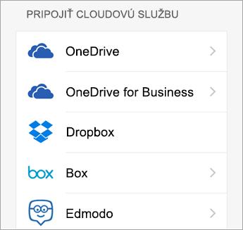 Vyberte cloudovú službu, ktorú chcete pridať.