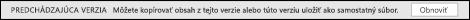 Otvorte predchádzajúcu verziu ztably aktivity abudete mať možnosť obnoviť predchádzajúcu verziu.