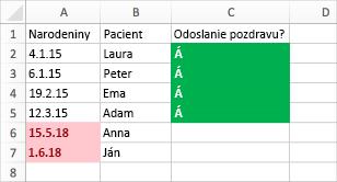 Príklad podmieneného formátovania s dátumami narodenia, menami a stĺpcom odoslania