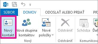 Tlačidlo Nový kontakt na karte Kontakt