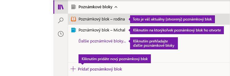Zoznamy poznámkových blokov vo OneNote pre Windows 10