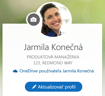 Kliknutím na položku Aktualizovať profil zmeníte svoje informácie