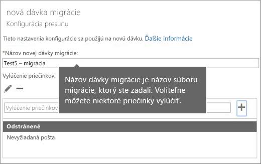 Premiestnenie dialógového okna konfigurácie