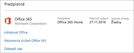 Ak ste si skúšobnú verziu služieb Office 365 nainštalovali do nového PC, jej platnosť uplynie v deň, ktorý je zobrazený