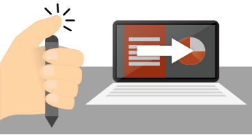 Ruka držiaca a klikajúca vrchnou časťou pera vedľa obrazovky prenosného počítača, ktorá zobrazuje prezentáciu.