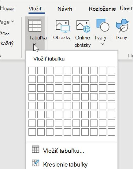 Vloženie tabuliek vo Worde
