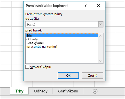 Dialógové okno Premiestniť alebo kopírovať