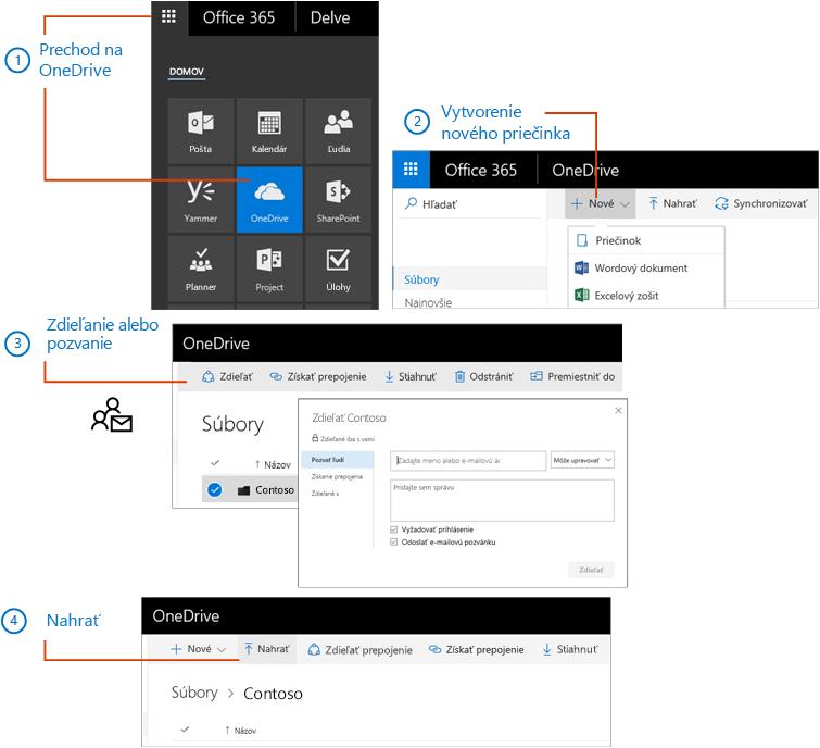 Vo OneDrive vytvorte priečinok azdieľajte ho