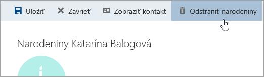 Snímka obrazovky stlačidlom Odstrániť narodeniny