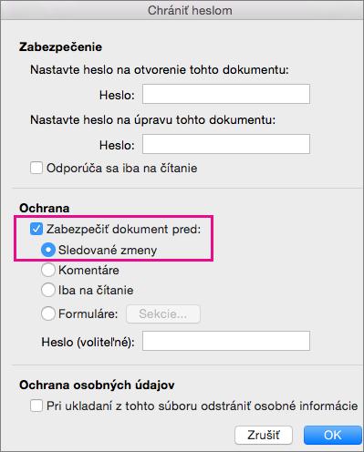Heslo zabezpečiť dialógové okno s chrániť dokument pre: a sledované zmeny zvýraznené.