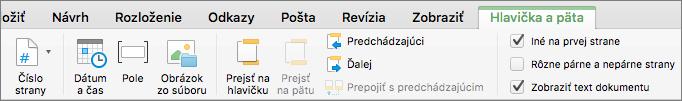 Po dvojitom kliknutí do oblasti hlavičky alebo päty Word zobrazí kartu Hlavička a päta.