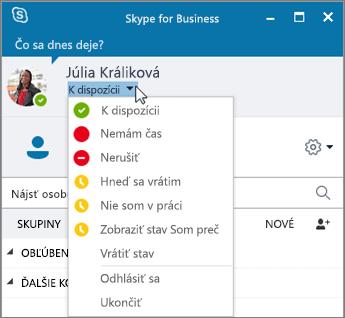 Snímka obrazovky s oknom Skypu for Business sotvorenou ponukou Stav.