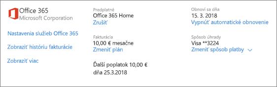 Stránka Služby a predplatné zobrazujúca podrobnosti o predplatnom na Office 365 Home.