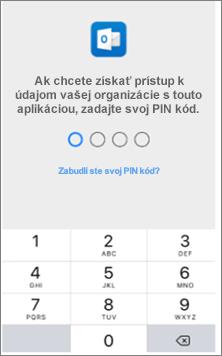 Ak chcete získať prístup k aplikáciám balíka Office, v zariadení so systémom iOS zadajte PIN kód.