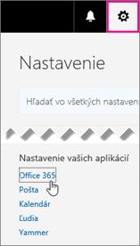Výber nastavení služieb Office 365