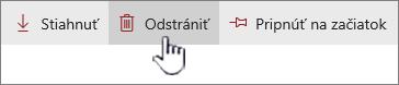 Zvýraznené prepojenie a ikona Odstrániť na hornom paneli s prepojeniami
