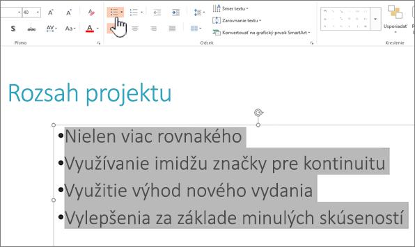 Vybratý text a zvýraznené tlačidlo Odrážky
