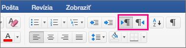 Zobrazuje tlačidlá textu sprava doľava a zľava doprava vo Worde 2016 pre Mac.