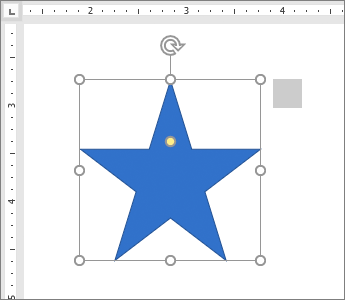 Tvar hviezdy s pravítkom zobrazeným na strane