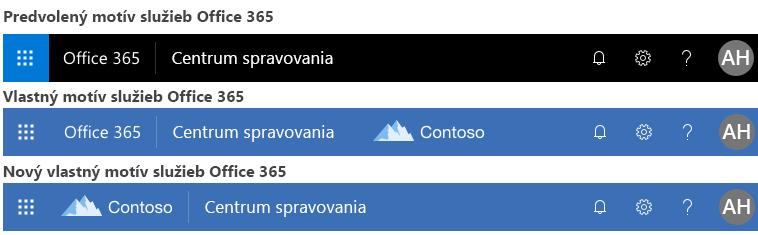 Príklad zmeny motívu v službách Office 365