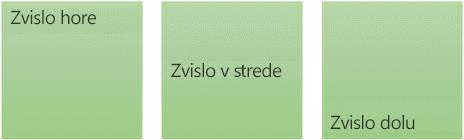Tri možnosti zvislého zarovnania textu : nahor, do stredu a nadol