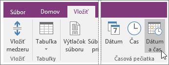 Snímka obrazovky stlačidlom Dátum ačas vo OneNote 2016.