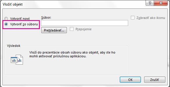 Dialógové okno Vložiť objekt svybratou možnosťou Vytvoriť zo súboru