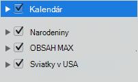 Kalendár zoznamu kategórií