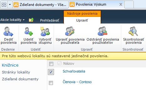 Odstránenie povolení používateľov