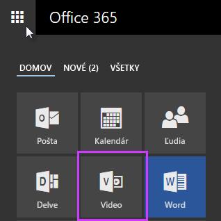 Ikona portálu Office 365 Video v spúšťači aplikácií