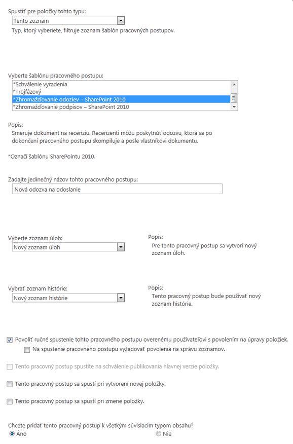 Vo webovej časti formulár spúšťania