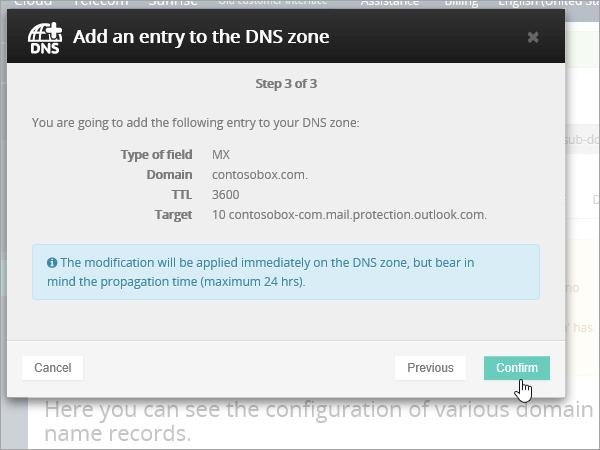 OVH MX záznam, výber položky Potvrdiť_C3_201769183928