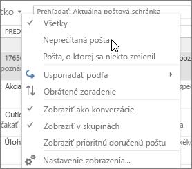 Snímka obrazovky s vybratou možnosťou Neprečítaná pošta v rozbaľovacej ponuke Všetko na páse s nástrojmi Doručená pošta.