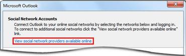 Prepojenie na stránku poskytovateľa nástroja Outlook Social Connector