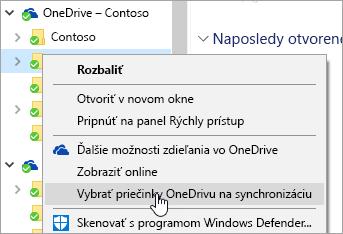 Snímka obrazovky s kontextovou ponukou v Prieskumníkovi s výberom možnosti Vyberte priečinky OneDrivu na synchronizáciu.