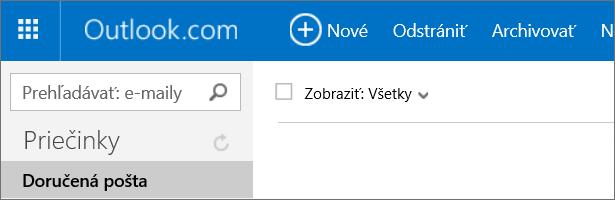 Obrázok pása snástrojmi vslužbe Outlook.com