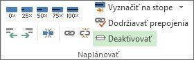 Tlačidlo Deaktivovať v skupine Naplánovať na karte Úloha.
