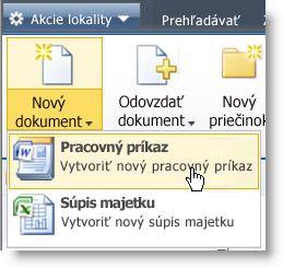 Zobrazenie typov obsahu v ponuke nového zoznamu alebo knižnice.