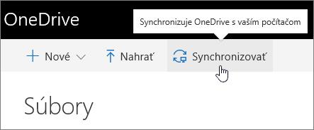 Zvýraznené tlačidlo na synchronizáciu vo OneDrive for Business