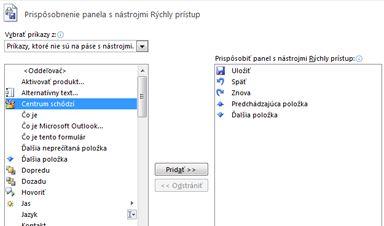 Dialógové okno Prispôsobenie panela s nástrojmi Rýchly prístup s ďalšími príkazmi