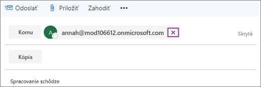 Snímka obrazovky zobrazuje riadok Komu e-mailovej správy s možnosťou odstránenia e-mailovej adresy príjemcu.