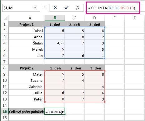 Použitie funkcie COUNTA na spočítanie 2 rozsahy buniek