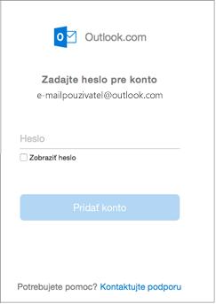 Zadajte heslo konta služby outlook.com