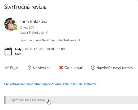Snímka obrazovky s pozvánku na schôdzu odoslanou do zdieľaného kalendára.