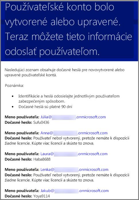 Vzorový e-mail sinformáciami opovereniach používateľov