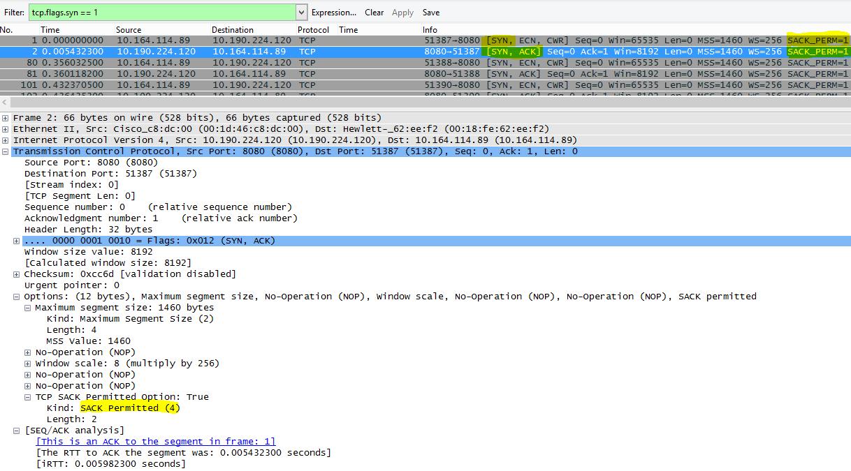 Režim SACK, ako sa zobrazuje v protokole Wireshark s filtrom tcp.flags.syn == 1.
